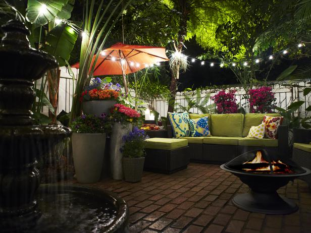 Outdoor entertaining area at night.
