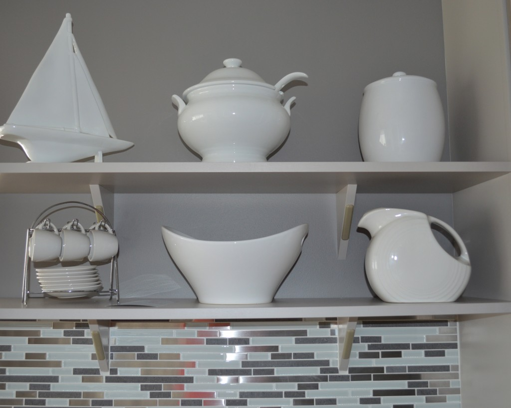 Display shelves in kitchen.