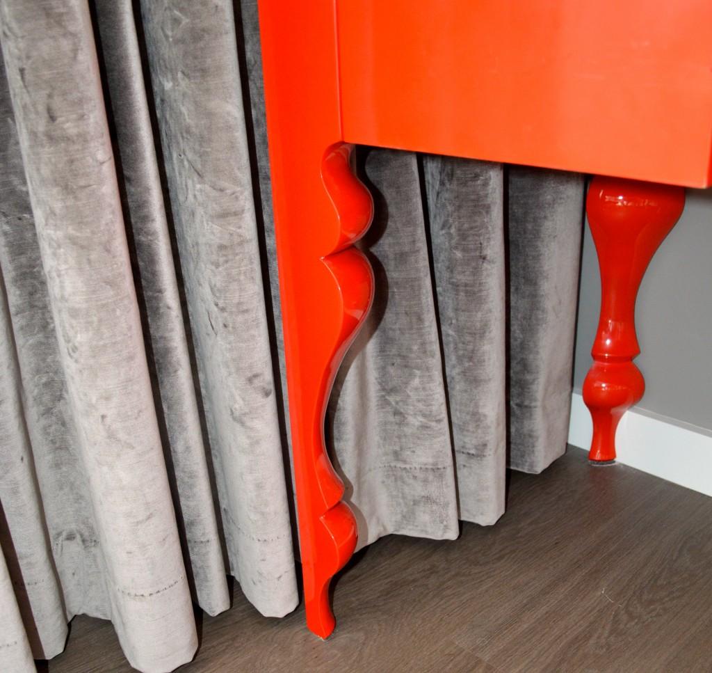 Red Desk Leg