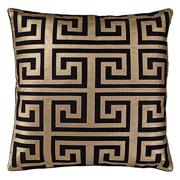 Greek Key Black And Gold Decorative Pillow