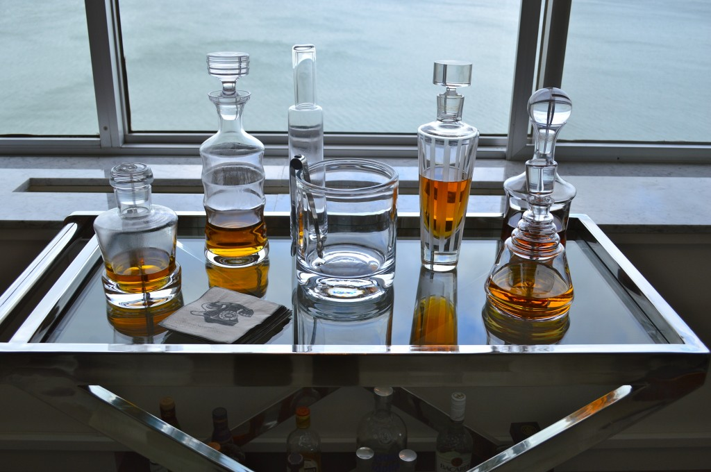 Decanters of Scotch on a Bar Cart