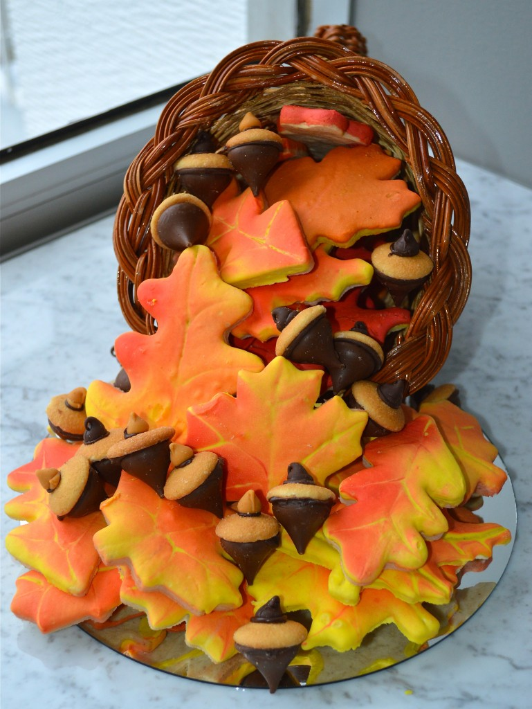 Cornucopia of Autumn Leaves and Acorns