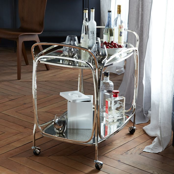 Foxed Mirror Bar Cart