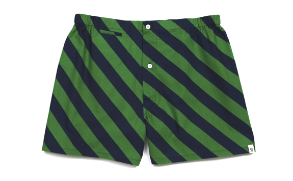Jasper Boxer - Green Repp Stripe from Partner's and Spade