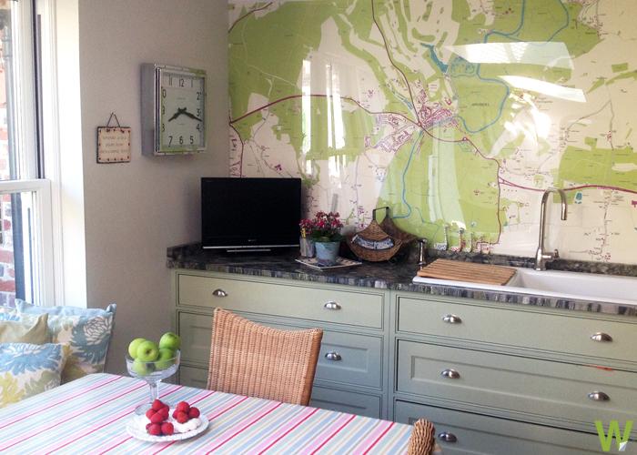 Wallpapered Map Wallpaper Mural Kitchen Wall