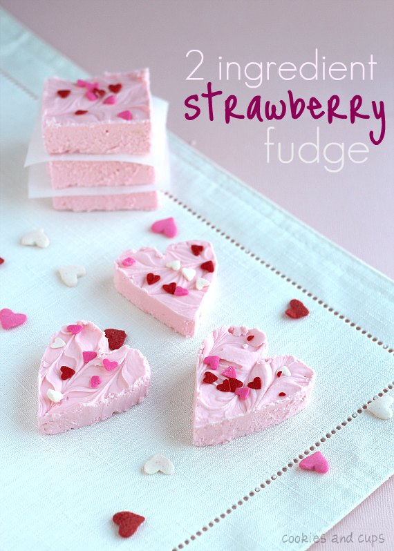 Strawberry fudge hearts for Valentine's Day