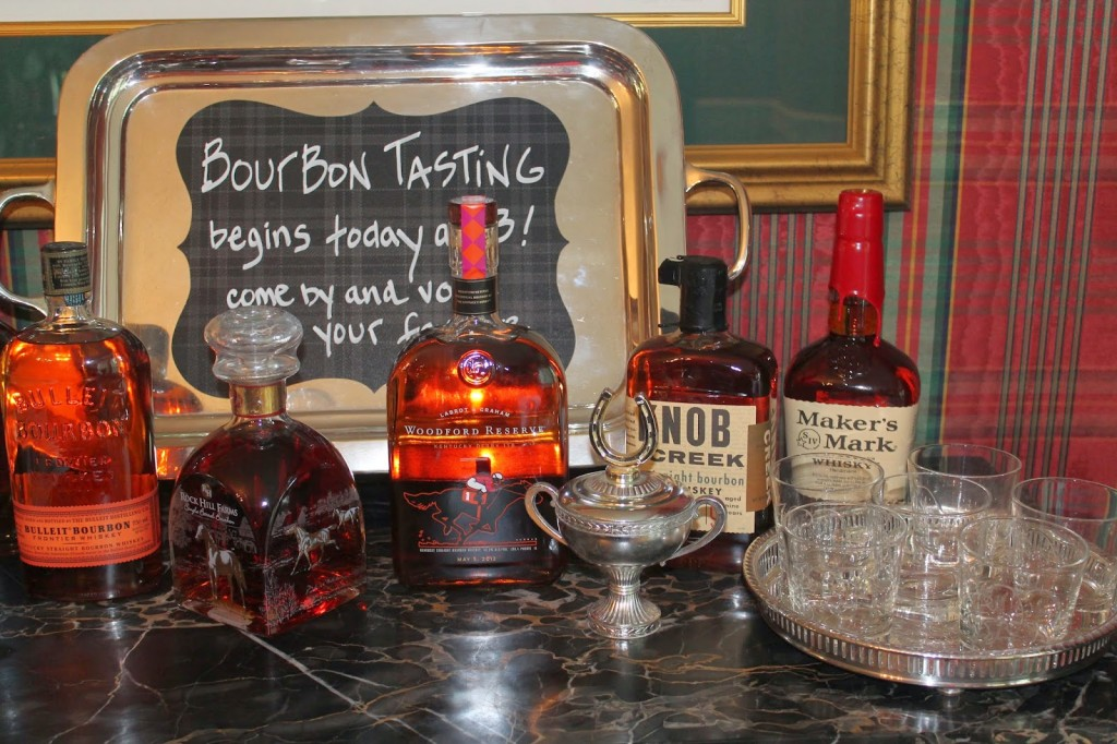 Bourbon Tasting set up.