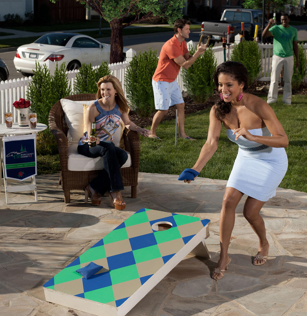 Derby silks patterned cornhole game.