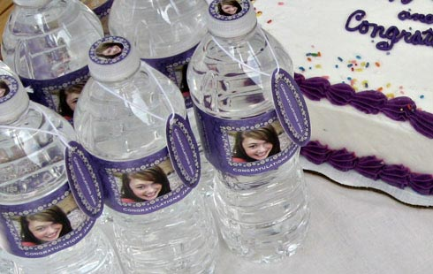 Custom water bottle labels for a graduation party.