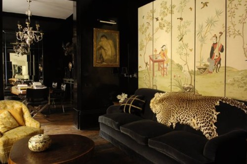 ... Lorenzo Castillo Living Room Black Gold Leopard Hide Velvet Eclectic  Glam Dark ... Part 44