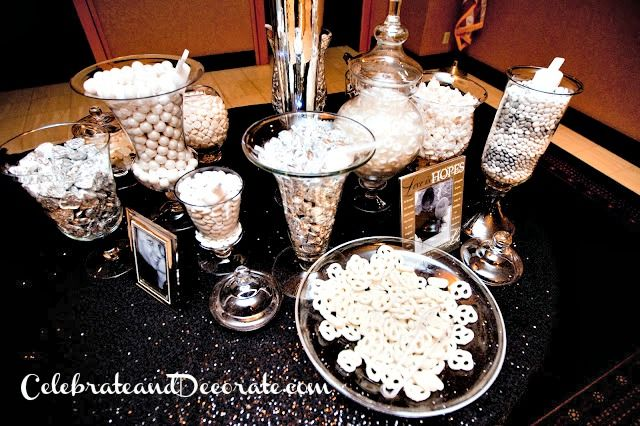 Silver and White Candy Bar for an elegant wedding