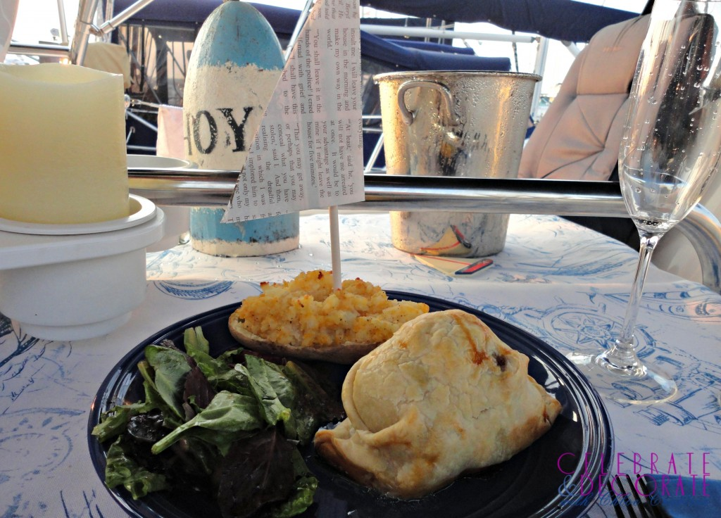 Beef Wellington dinner on a sailboat