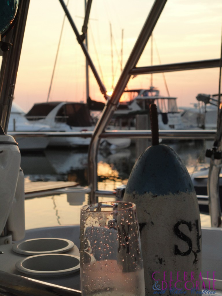 Sunsetting on our sailboat dinner