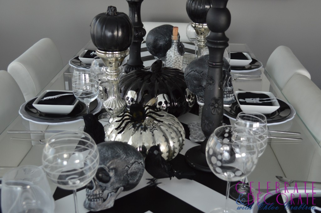 A Black and Silver Halloween Tablescape