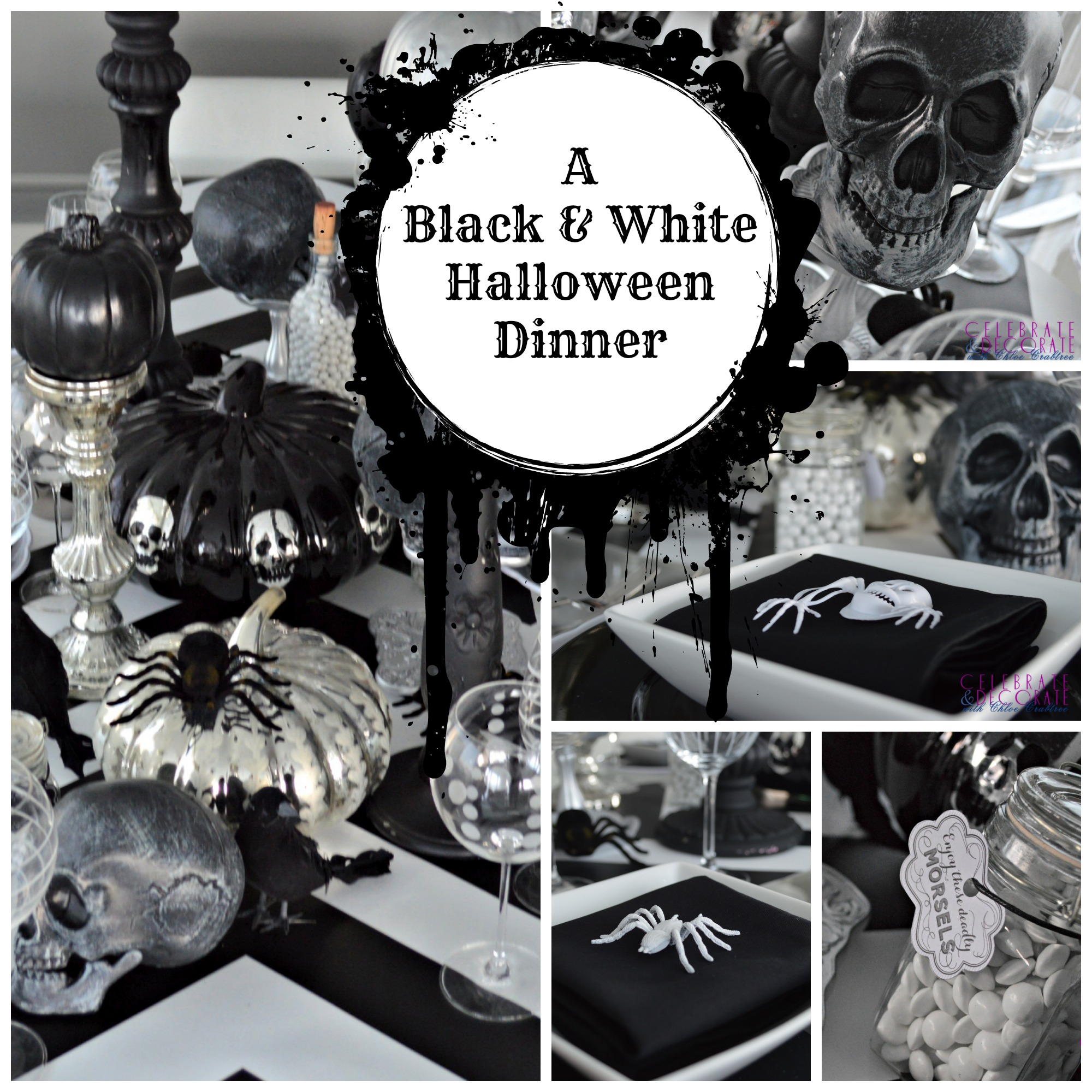 a black and white halloween dinner collage - Black And White Halloween Party