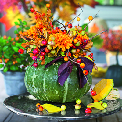 Flowers and Berries in a Carved Pumpkin ~ Southern Living