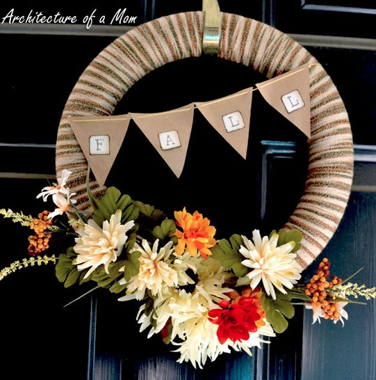 Fall DIY Yarn Wreath from Architecture of a Mom