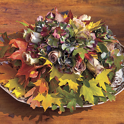 Fall Leaves and Flowers Centerpiece ~ Southern Living
