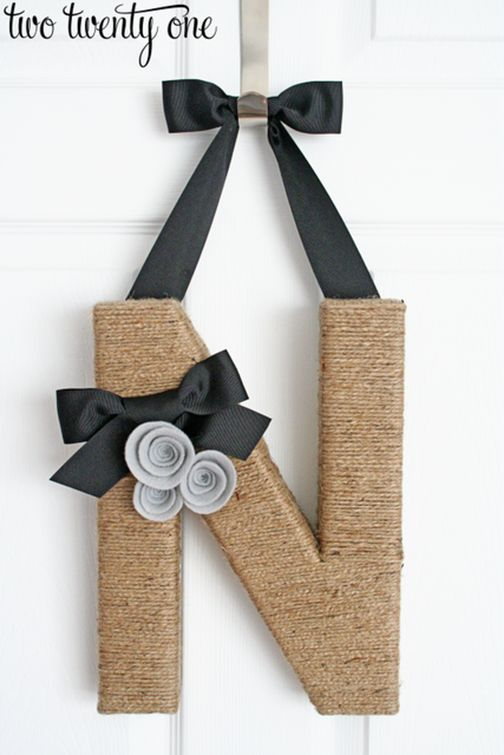 Jute Wrapped Initial Door Decor