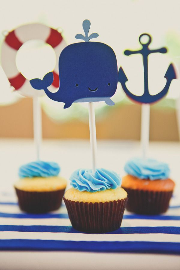 Nautical Party Cupcake Toppers