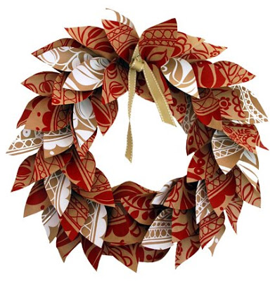 Paper Leaf Wreath ~ The Red Thread Blog
