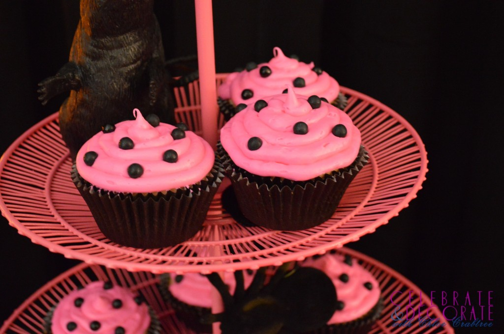 Pink and Black Cupcakes
