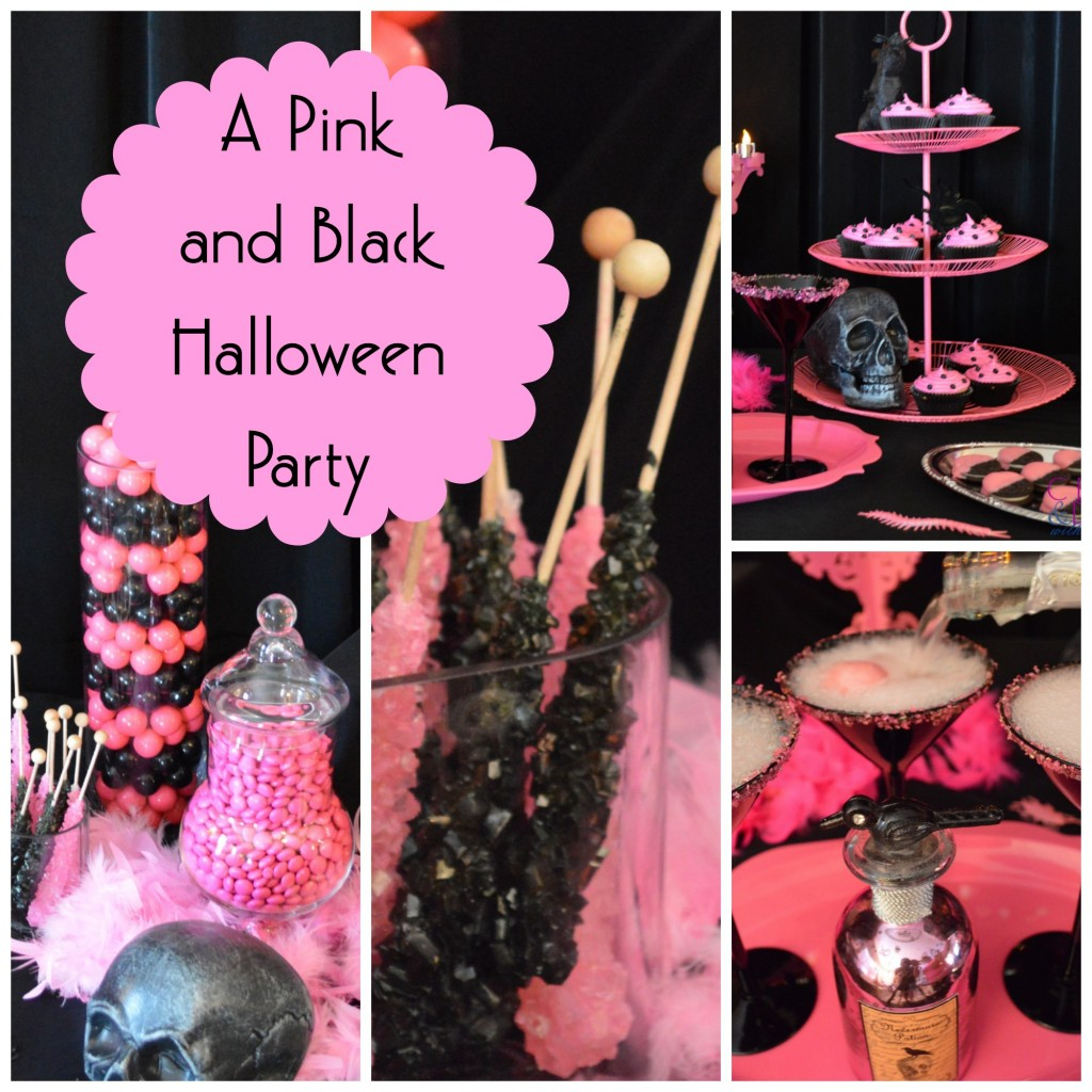 Pink and Black Halloween Collage