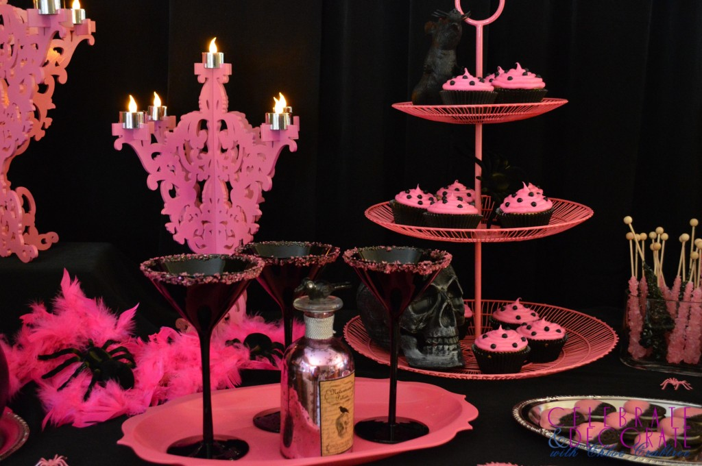 Pink and Black Halloween Tablescape