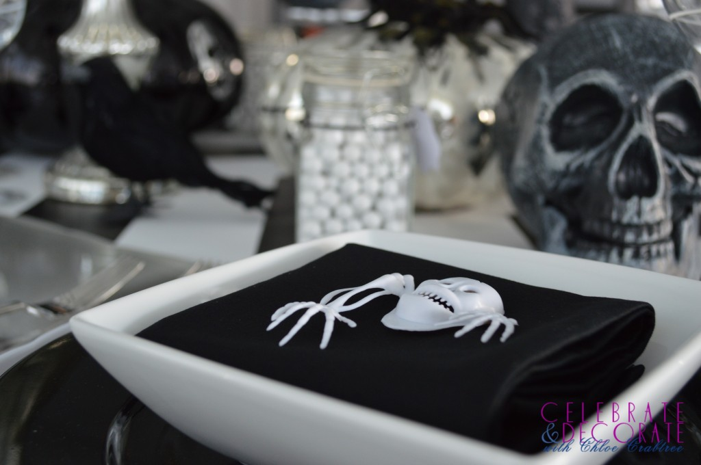 Skeleton creeping on napkin