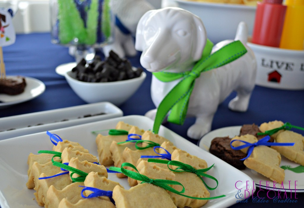 White Ceramic Dachshund looks over the cookies