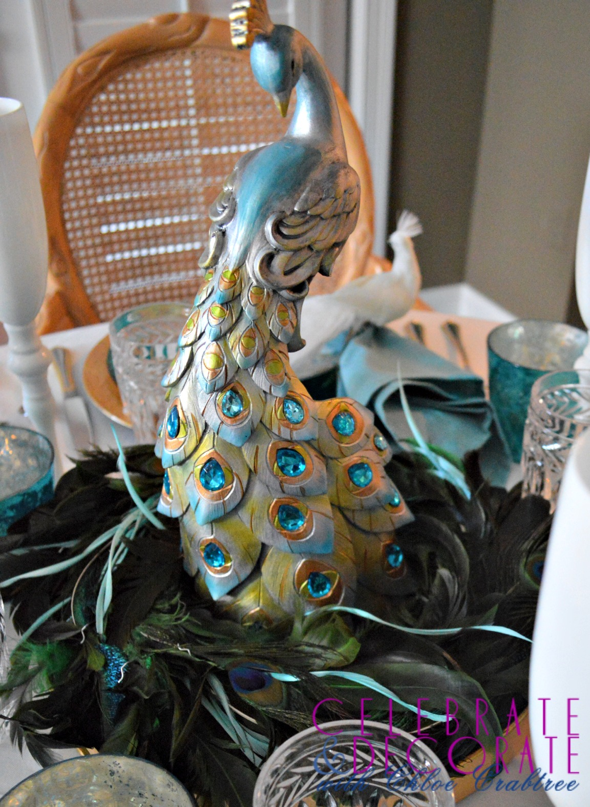 A Peacock Inspired Christmas Tablescape Celebrate Amp Decorate