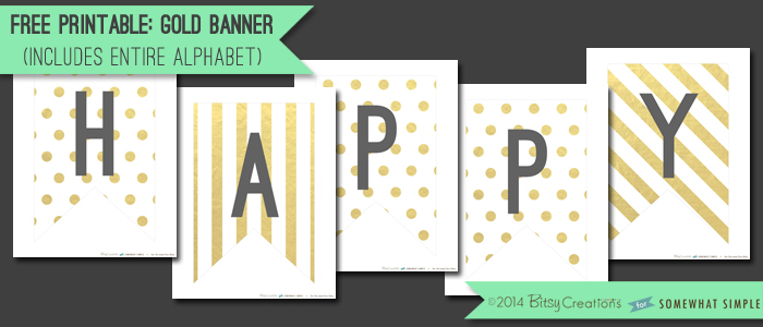 free gold banner printable
