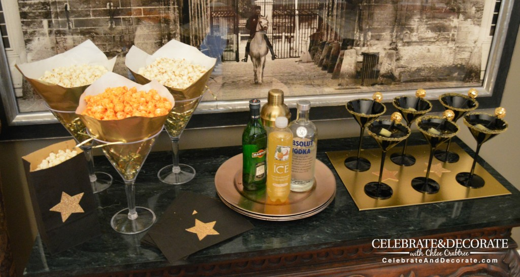 Popcorn and Martini and Bar set up for an Academy Awards Party