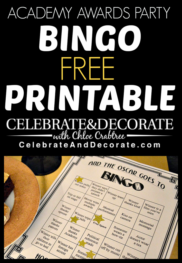 Academy Awards Party - Bingo Cards - Free Printable from CelebrateAndDecorate.com
