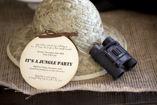 Creative Jungle Party Invitation with hat and binoculars