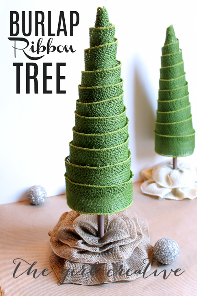 Use burlap ribbon to make these trees!