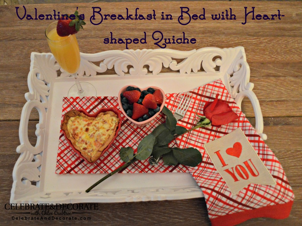Valentine's Breakfast in Bed with Heart-shaped Quiche