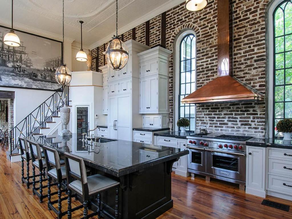 Amazing kitchen with brick wall