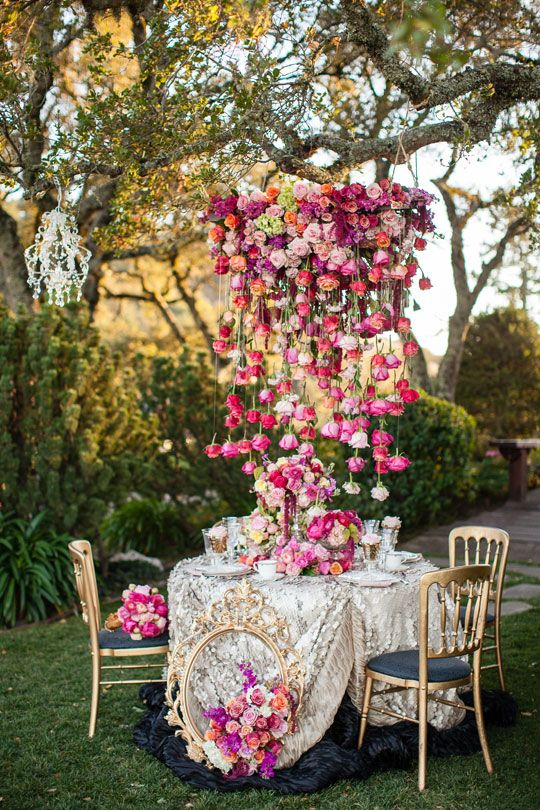 Tumbling roses floral display
