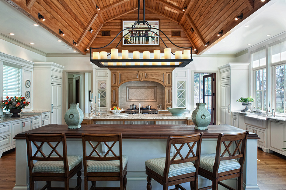 White Kitchen with wood cathedral ceiling