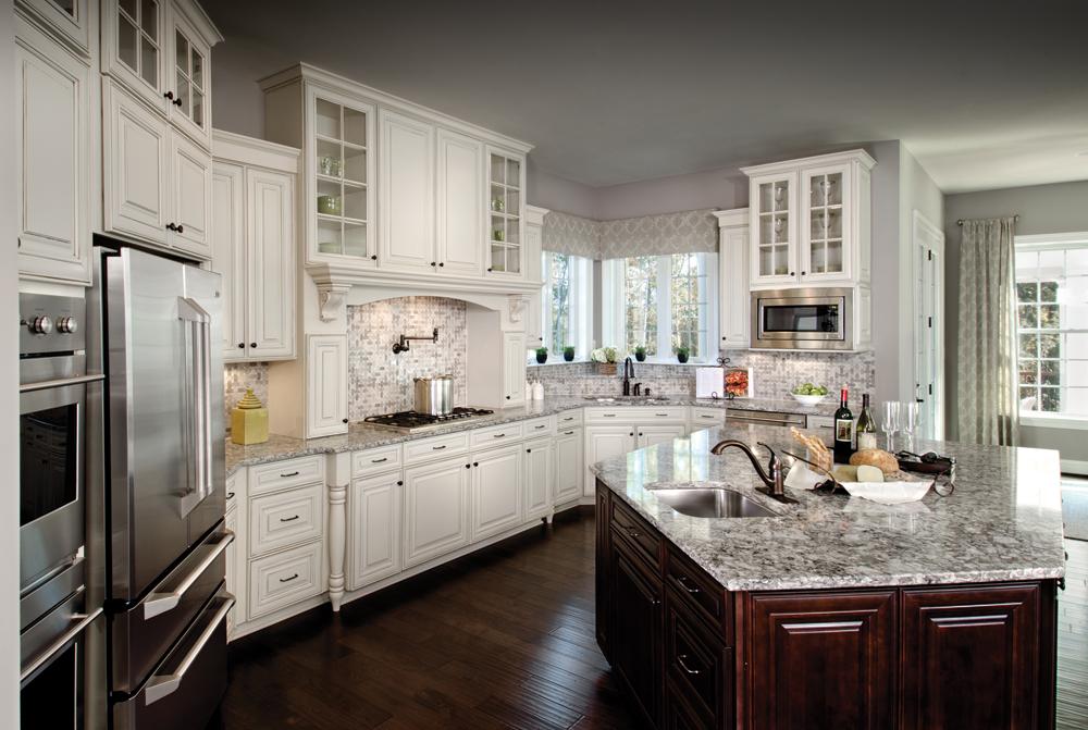 White angled kitchen