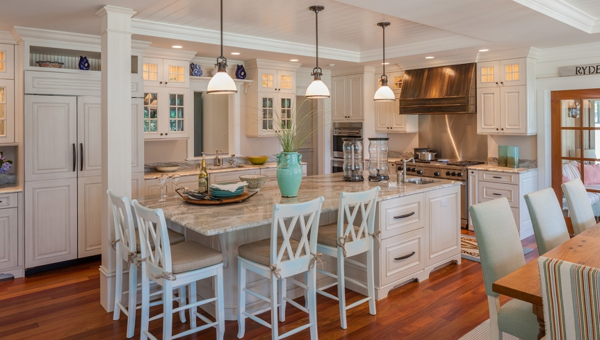 White Kitchen With Beautiful Dining Island