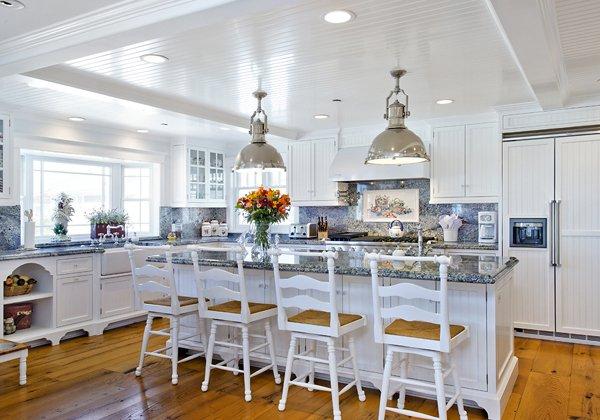 White kitchen with blue stone countertops
