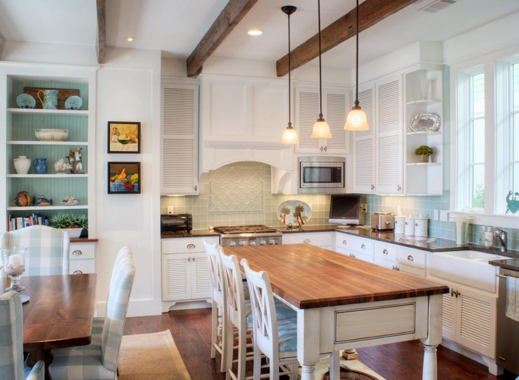 Whtie kitchen with shuttered cabinet doors