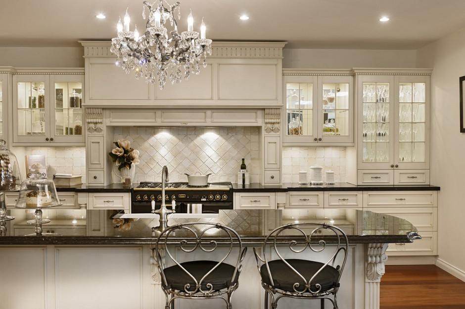 Glamour White Kitchen Cabinet With Beautiful Sharp Lighting