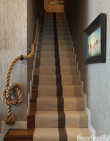 Rope stairway railing