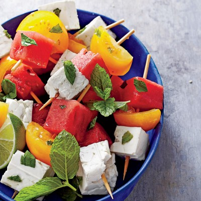 Tomato, watermelon and feta skewers