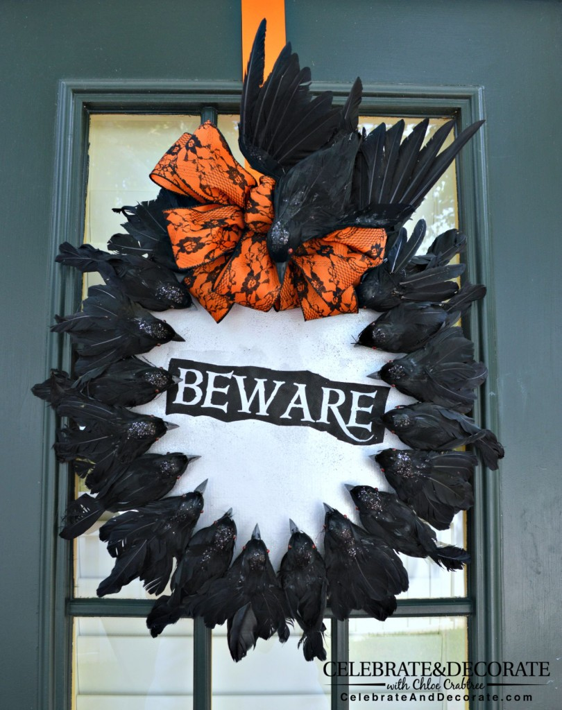Beware of the Birds Creepy Halloween Wreath