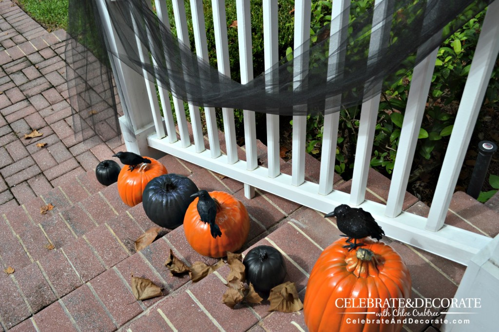 Birds and pumpkins welcome you to my Halloween house.