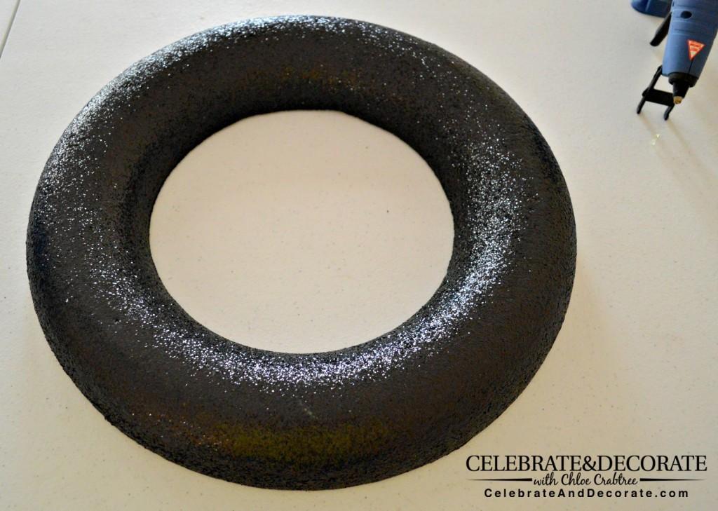 Black Glitter Wreath Form
